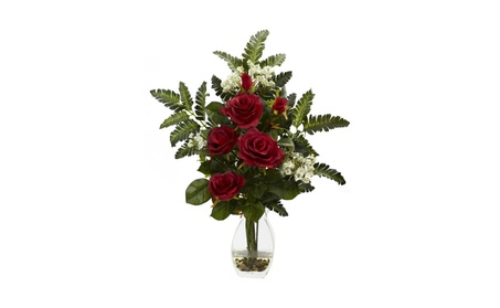 Nearly Natural Rose & Chryistam Arrangement 307fbc45-e898-4cf3-99a0-1bea65a6a75d