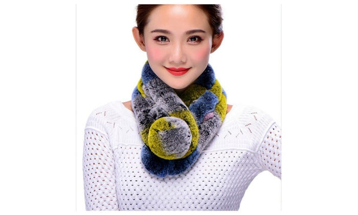 100% Rex Rabbit neck scarf multi-color brand