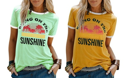 Bring On The Sunshine Graphic Summer Tees Blouses for Women Tops Tunic