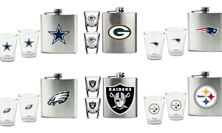 NFL 3pc Flask & Shot Glass set