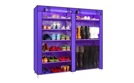 Double Rows 9 Lattices Combination Style Shoe Cabinet Organizer Rack cf99bfe5-58a0-45c4-b9ec-a270d445dc30