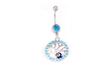 Tree of life Dangle Design with Aqua CZ Jewels Belly Button Ring 14 ga 9f1f9a68-f724-46c5-8a89-710cc6b59425