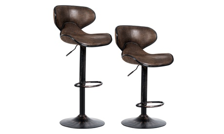 Set of 2 Adjustable Bar Stools Swivel Bar Chairs with Back & Footrest Retro Brown