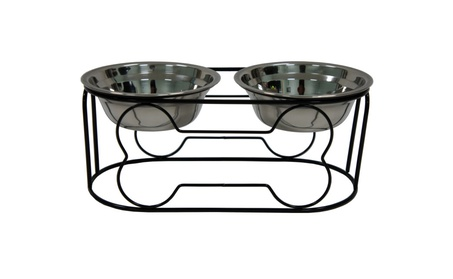 YML Wrought Iron Stand with Double Stainless Steel Feeder Bowls dd80c964-3e47-49fd-b0c6-b3e8049201cd