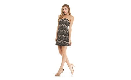 Black / Nude Lace Strapless A-line Fit Dress 63919232-19bb-4811-8cbb-8eefd55e6ce2