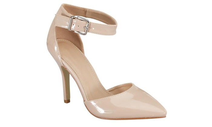 Womens Dorsay Ankle Strap Pointed Toe Patent Pumps SH0021