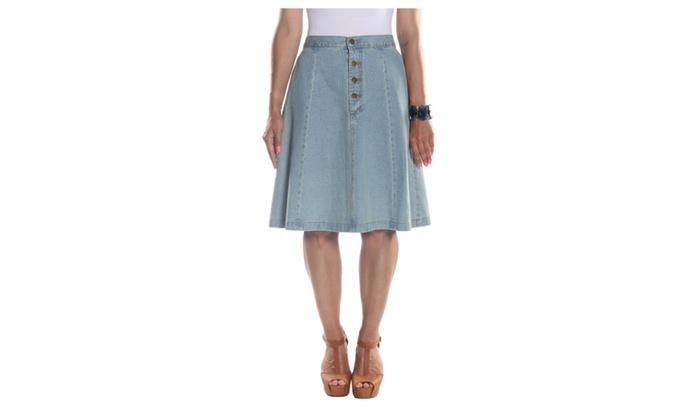 Hadari Women's Midi Panel Buttoned Skirt with Side Pockets