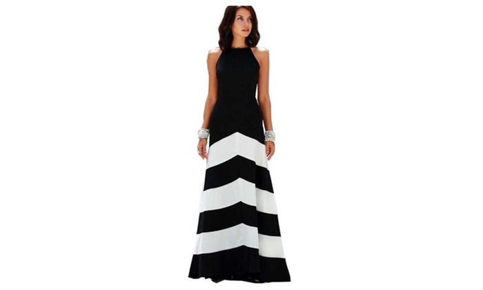 Women Black and White Striped Long Loose Evening Dress