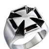 Stainless Steel Cool Fashion Iron Cross Ring for Men