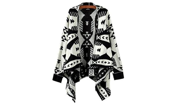 Women Stylish Geometric Print Irregular Cardigan Sweater Knitwear Top – Black / One Size