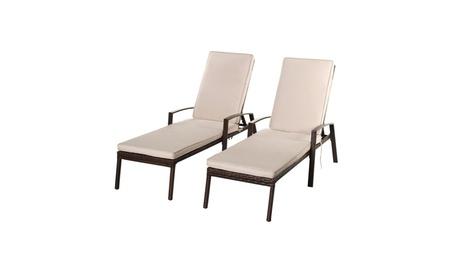 2PCS Patio Rattan Lounge Chair Garden Furniture Adjustable Back 23dbf015-35a0-4ff9-a547-d73484b864d1