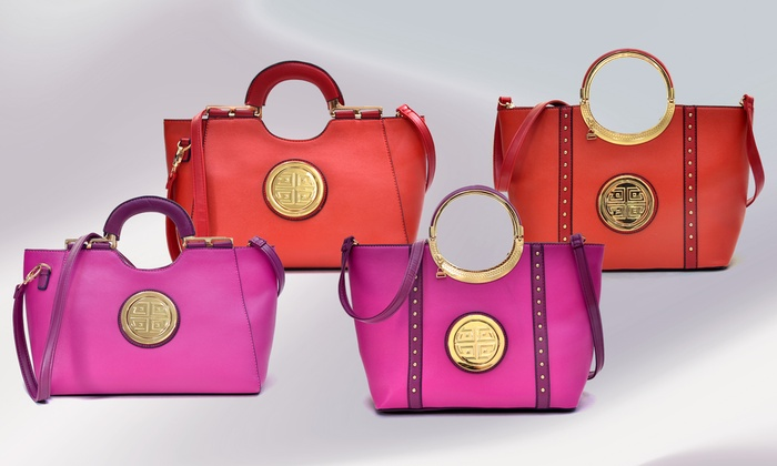 a0254951b4fa2c MK Belted Collection Medallion Satchel Purse | Groupon