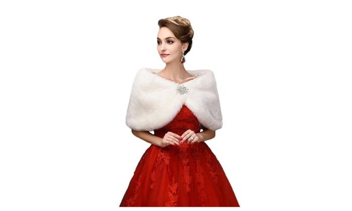 Design Women's Faux Fur Wrap - White / One Size