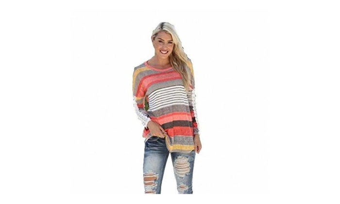 Women's Long Sleeve Blouse Tops Round Neck Plaid Checked Loose Shirt