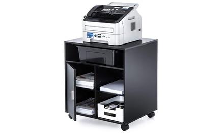 4-Shelf Printer Stand Wooden Storage Office Cabinet with Wheels