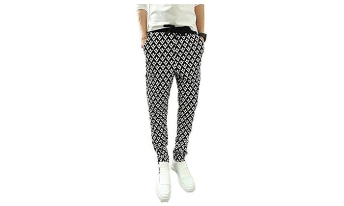 JINMIG Mens Fashion Checked Harem Pants Plaid Hit-hop Chic Trousers
