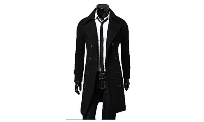 Mens Trench Coat Winter Long Jacket Double Breasted Overcoat Parka