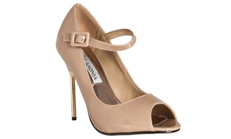 Riverberry 'Peep Toe Mary Jane Style Stiletto Heels, Nude Patent bdbce362-1b0d-40f4-868b-5286f92d8c2b