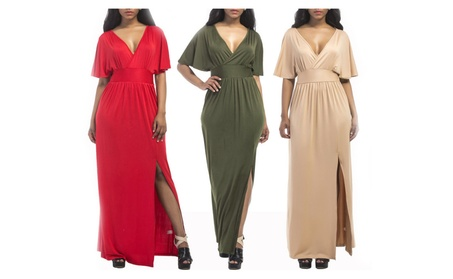 Women's Plus Size Short Sleeve Slit Wrap V-Neck Gowns Maxi Dress 24292626-a45a-48ec-99be-bbaed900f8c1
