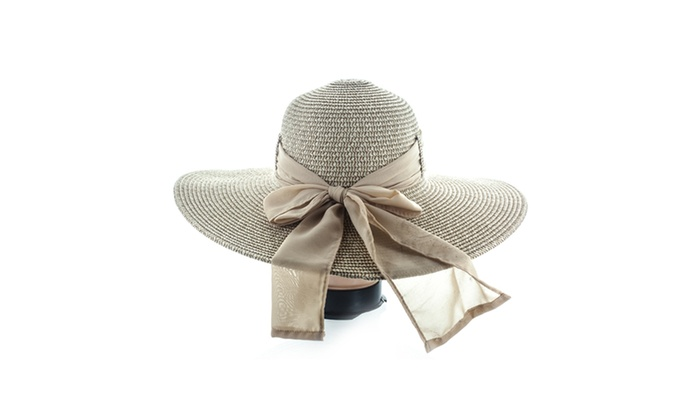 Faddism Women Woven Sun Hat With Big Bow