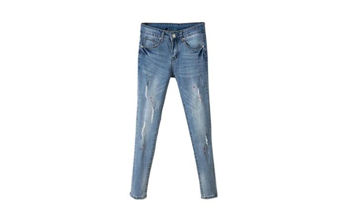 Women's Skinny Regular Fit Korean Solid Capri Jeans