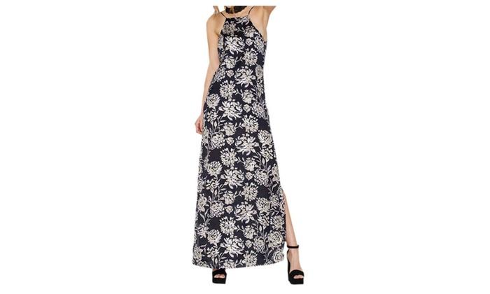 CitySky: Women's New Elegant Floral Print Halter Dress