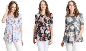 Women's Short Sleeve Empire-Waist Maternity Top
