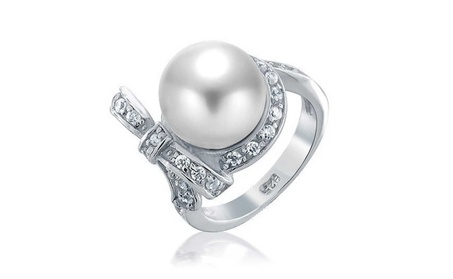 Bling Jewelry Bridal CZ Bow Ribbon White Simulated Pearl Rings 6327c364-ef1d-4f9b-887a-2adcc3e04455