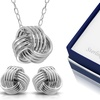 Sterling Silver Love Knot Necklace and Earring Set by Paolo Fortelini