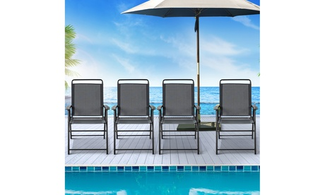 Costway 4PCS Outdoor Patio Folding Chair W/Armrest Portable Camping Lawn Garden