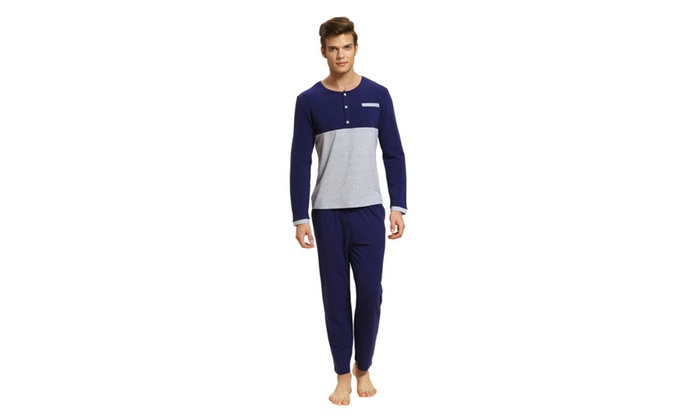 Men' Round Neck Colorblock Cotton Pajamas Set