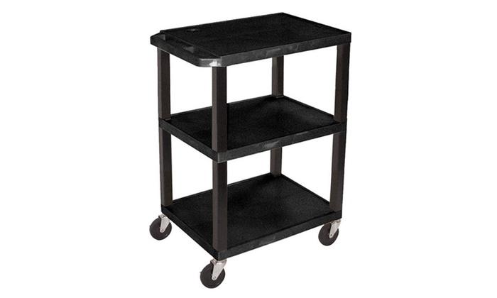 Luxor Tuffy Utility Cart With Three Shelves - Black