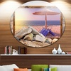 Framed Effect Beach Sunset' Seashore Circle Metal Wall Art