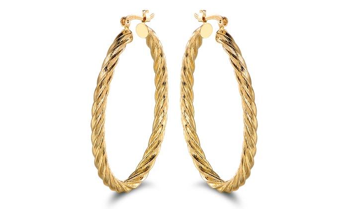 18k Gold Plated Polished Rope Hoop Earrings