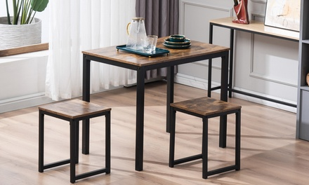 Simple Small Dining Set with 1 Breakfast Table and 2 Chairs