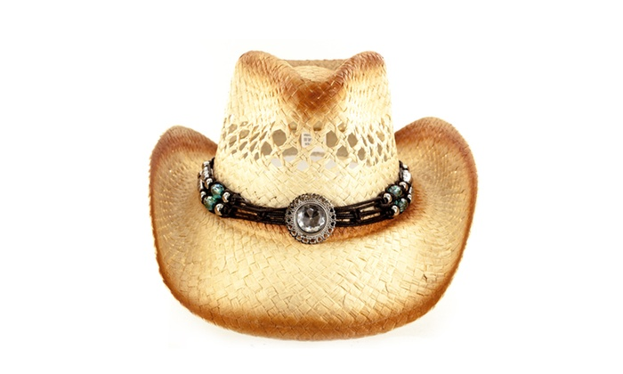 Faddism Fashion Fabric Straw Weave Cowboy Hat With Silver And Stone