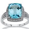 Topaz Diamond Accent Platinum over Silver Ring