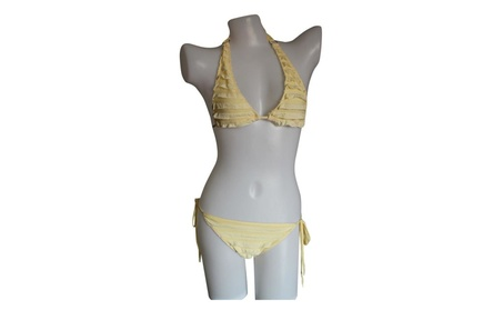 Women's Halter Triangle Fringe BOHO Style Cute Bikini Sets - Yellow 2efc8d04-a189-4507-86a9-9279225a9d8f