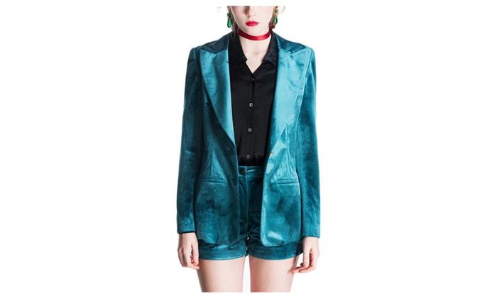 Women's Retro Style Slim Fit Velvet Blazer Outwear