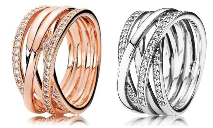 b8c6e4eb2 Pandora Inspired Entwined Ring-Rose Gold /Sterling Silver | Groupon