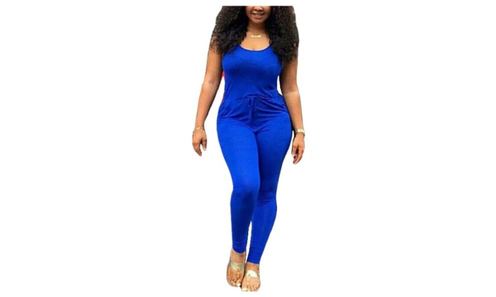 Women's Scoop Neck Pull On Strap Solid Drawstring Jumpsuits