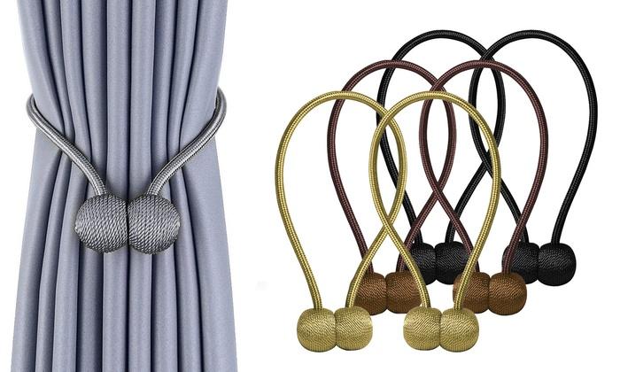 1//2x Curtain Tie Backs Ball Magnetic Buckle Tieback Clips Holdbacks Home Decor
