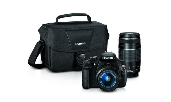 Canon EOS Rebel T5 Digital SLR Camera w/ 18-55mm IS II + EF 75-300mm