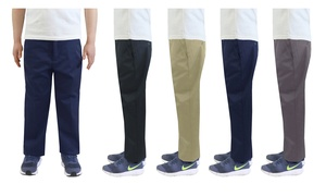 Kids' Flat-Front School Uniform and Casual Pants