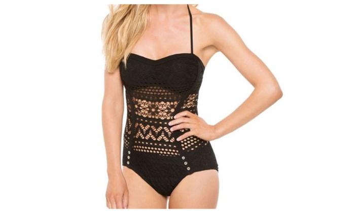 Women's Crochet Lace Halter Straps Push Up Swimsuits Bathing Suit