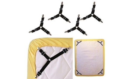 New 4PCS Triangle Bed Mattress Clips Grippers Straps Suspender Fastener Holder