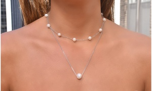 Genuine Freshwater Pearl Station Necklace and Pendant Set (2 PACK)