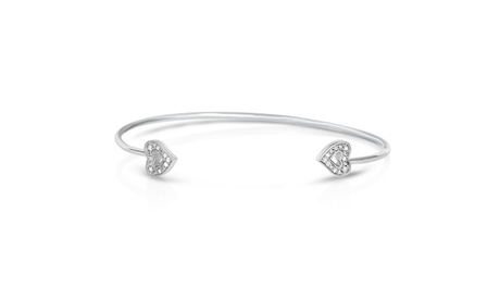 1/10Cttw Diamond Heart Open Bangle in Sterling Silver 6461bfc3-41fe-4c8a-b6eb-612a8226f917