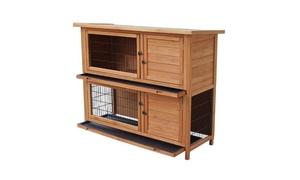 """48"""" 2-Tiers Waterproof Chicken Coop Rabbit Hutch Wood House"""