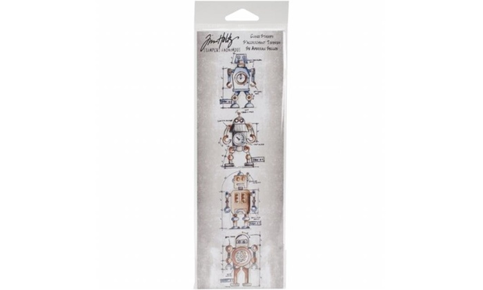 Travel Stampers Anonymous Tim Holtz Mini Blueprints Strip Cling Rubber Stamps 3 by 10